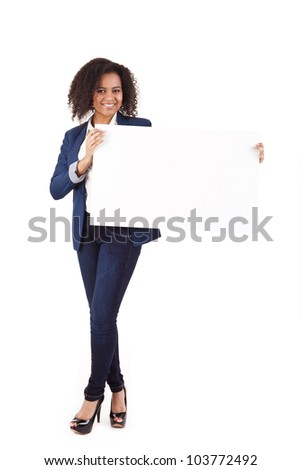 Young african american woman with blank signboard, isolated on white background