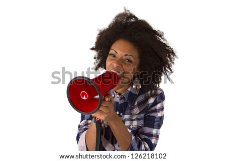 Young african american yelling at her megaphone isolated on white background - stock photo