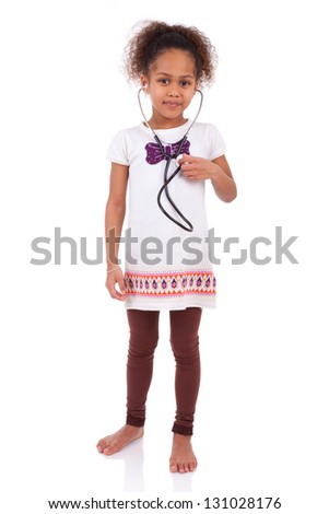 Young african asian girl holding a stethoscope, isolated on white background - stock photo