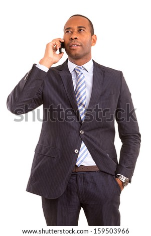 Young african business man on the phone - stock photo
