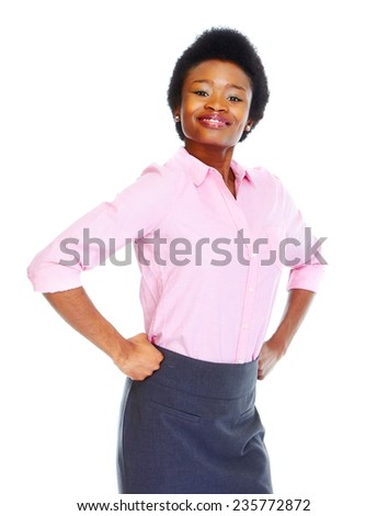 Young african business woman isolated white background - stock photo