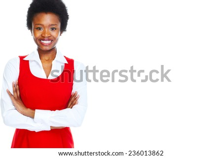 Young african business woman isolated white background. - stock photo