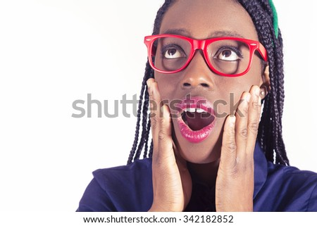 Young African girl surprised - stock photo