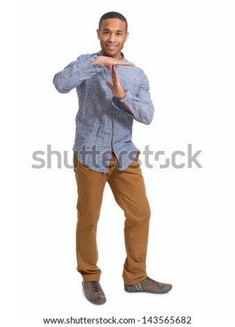 Young African Man Showing Time Out Sign Over White Background - stock photo