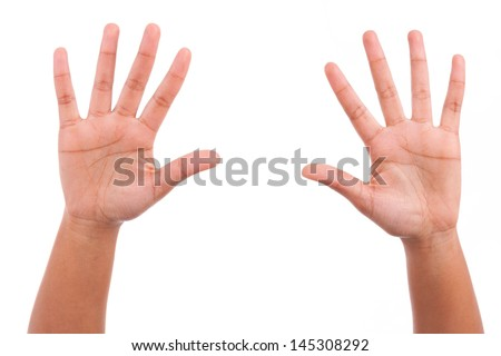 Young african person sowing his hands palm, isolated on white background - stock photo