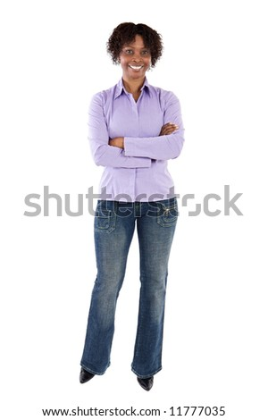 Young African woman a over white background - stock photo
