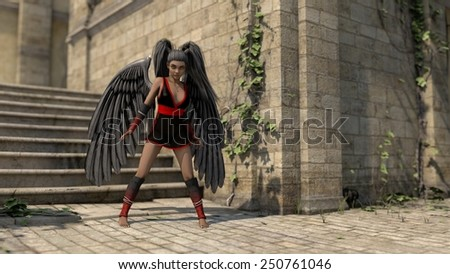young african woman as black angel - stock photo