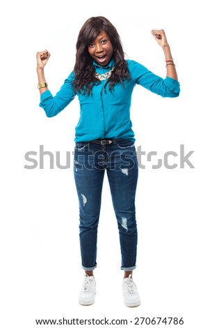 young african woman celebrating - stock photo