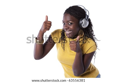young african woman listening and dancing with headphones (isolated on white)
