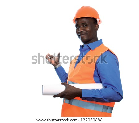 Young Afro-American engineer with blueprints isolated on white background
