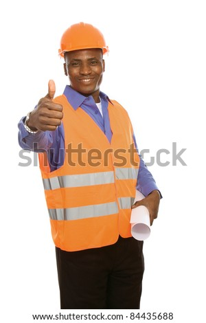 Young Afro-American with blueprints showing thumb up isolated on white
