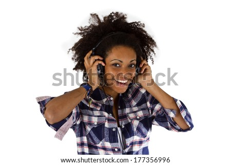 Young afro american with headphones - isolated on white background - stock photo