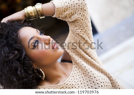 Young afro american woman in an old fashion style - stock photo