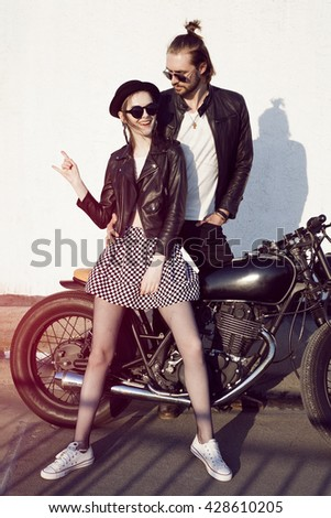 Young Alternative Couple On A Rooftop Bikers Lovers Hipsters Love Rock Style