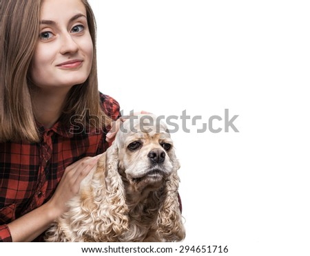 Young american cocker spaniel and beautiful woman isolated on white with copy-space