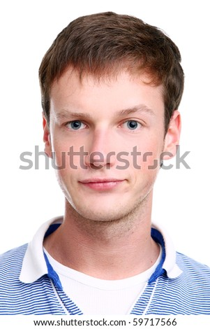 young and attractive boy on white background