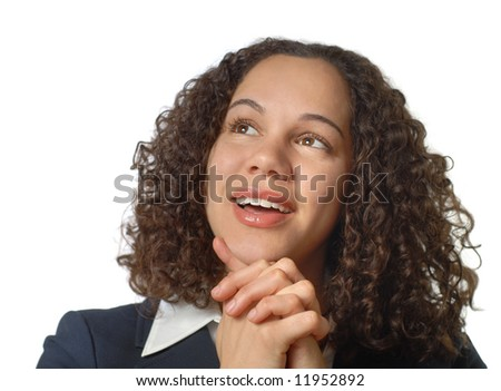 Young and attractive businesswoman looking up in wonder; plenty of white background copy space - stock photo