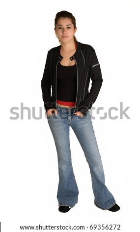Young and attractive hispanic woman in her late teens to early twenties - stock photo