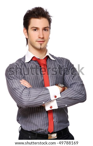 young and attractive male on white - stock photo