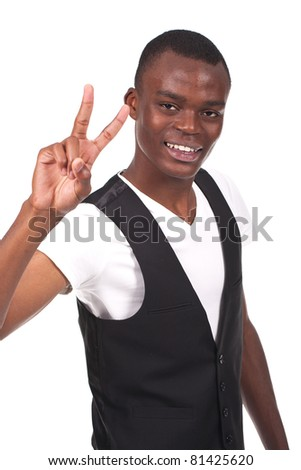 young and beautiful black man  doing victory sign - stock photo