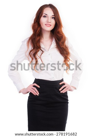 Young and beautiful confident businesswoman. Isolated on white background. - stock photo