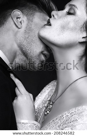 Young and beautiful couple, sexy - stock photo