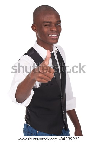 young and beautiful man making ok sign and blinking his eye