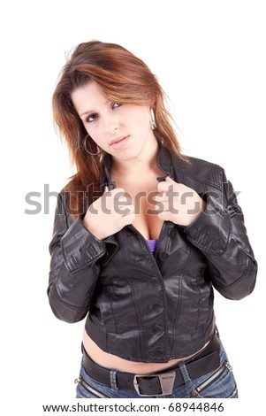 Young and beautiful woman posing - isolated