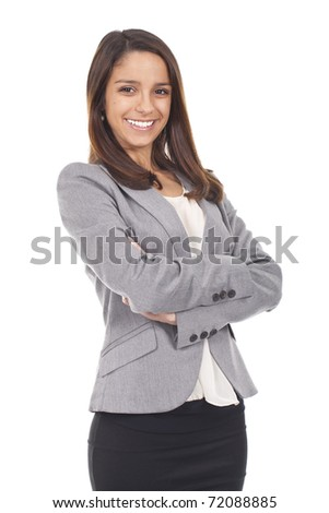 young and beautiful woman standing and smiling