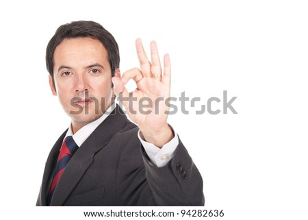 young and businessman making ok sign
