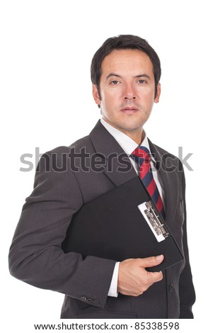 young and executive businessman holding a clipboard