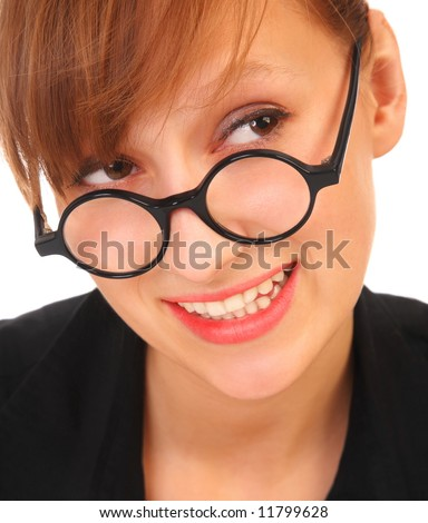 Young and good  looking business woman with glasses. Portrait of a beautiful friendly  woman - stock photo