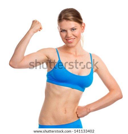 Young and happy female fitness instructor, isolated on a white background. Pretty blond Caucasian exercise woman ready for workout.