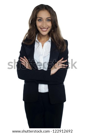 Young and pretty caucasian businesswoman isolated against white.