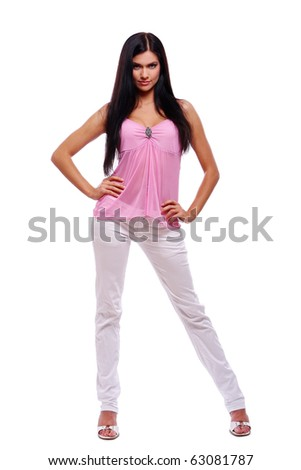 young and sexy girl in pink blouse at white background - stock photo