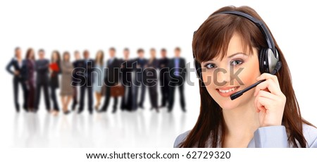Young and smiling operator and colleagues - stock photo
