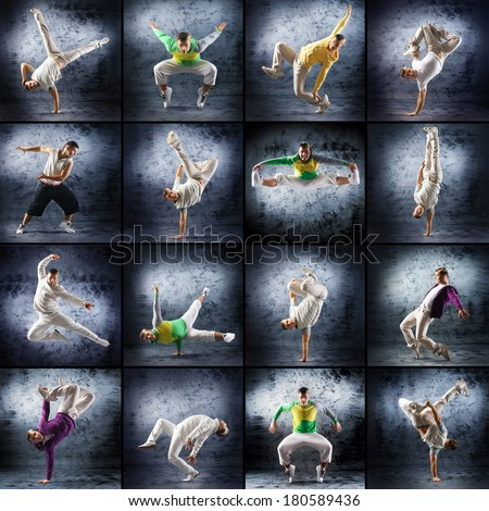 Young and sporty modern dancer over the dramatic background (collection of many different photos) - stock photo