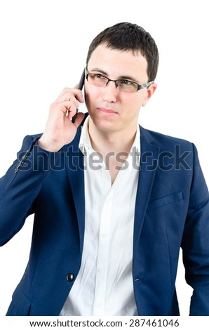 Young and successful businessman on the phone