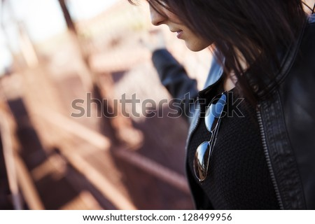 Young anonymous woman portrait, rocker wearing. - stock photo