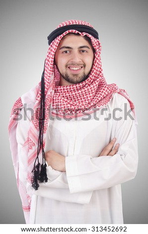Young arab isolated on the white background - stock photo