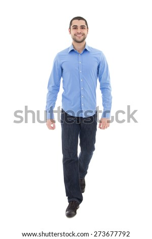 young arabic bearded business man in blue shirt walking isolated on white background