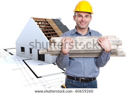 Young architect holding lots of blueprints with a house on construction at the background - stock photo