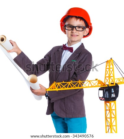 Young Architect in hardhat, holding blueprints. Isolated on white background - stock photo