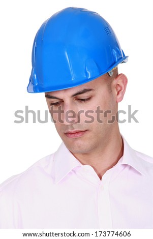 Young architect musing - stock photo