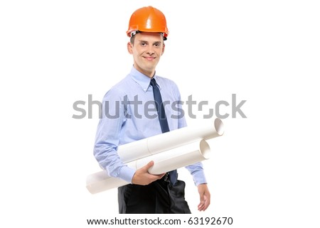 Young architect wearing protective helmet and holding blueprints isolated on white background - stock photo