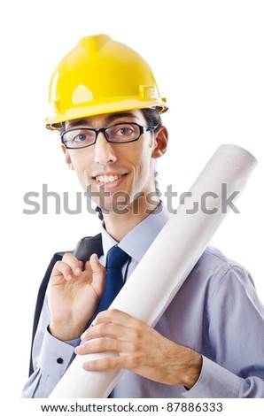 Young architect with drawings isolated on white