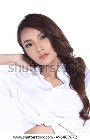 Young Asia Girl Curl Hair, White Shirt, Short Jean, open belly, full body isolated on white background
