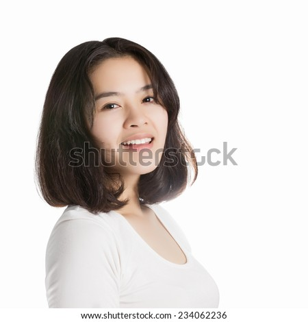 Young Asia woman with smiley face isolated on white background. - stock photo