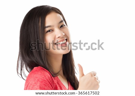 Young Asia woman with smiley face Thumps up gesture, isolated on white background. - stock photo