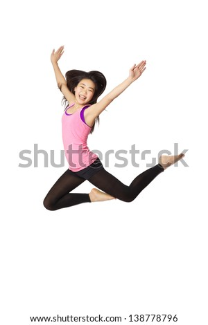 Young Asian American Girl Leaping in Pink Casual Clothing